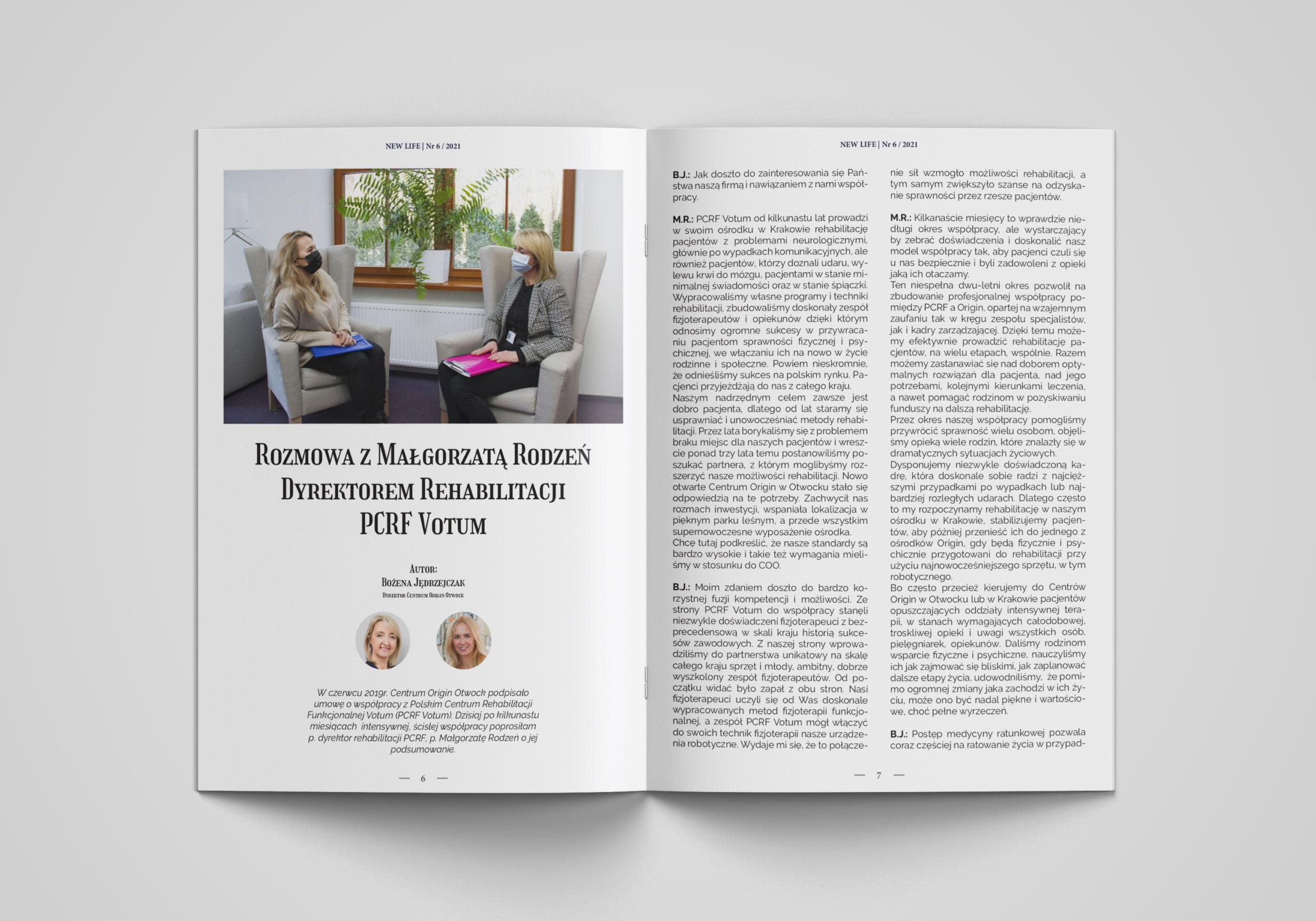 Magazyn NEW LIFE 6/2021, a w nim rozmowa z Małgorzatą Rodzeń